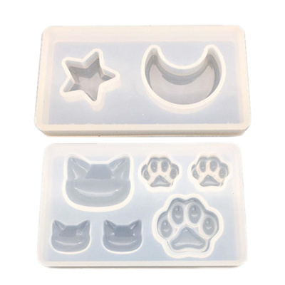 Cat Paw Moon Star Resin Jewelry Mold Resin Molds Diy Silicone Crystal Drop  Tape Hole Cat Face Cat s