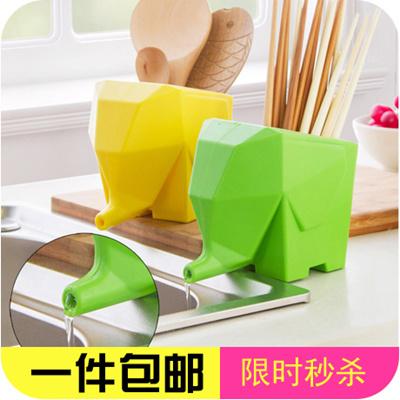 Ceramic Elephant Drain Elephant Kitchen Cutlery Storage Cage Cup Toothbrush  Rack Storage Box Creativ