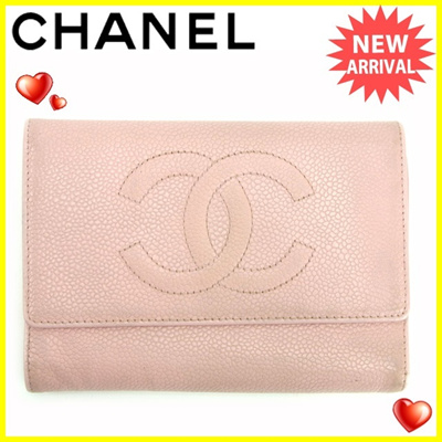 4df1a8e061da1b Chanel CHANEL tri-fold wallet women's caviar skin pink leather (for music  for tomorrow