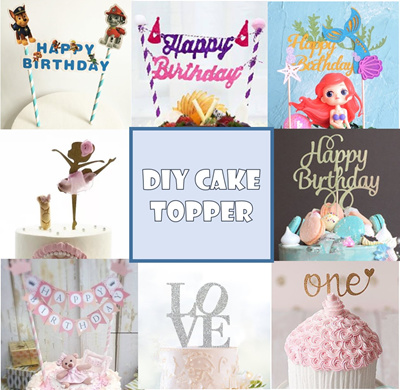 Cheapest DIY Cake Flags Toppers Banner First Birthday Cartoon