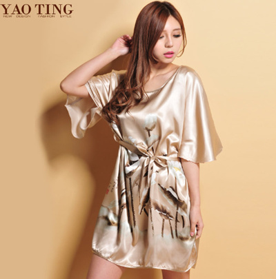 cedeedf607 Qoo10 - Cheapest fiber silk women dress batwing sleeve sleep dress  nightskirt ...   Underwear   Sock.
