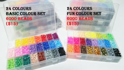 Cheapest in Qoo10! $15 for 24 Rainbow Colours 5mm/ 2 6mm midi mini  Perler/Hama/Fused bead kit