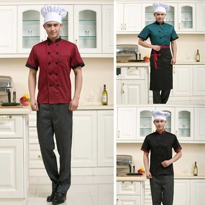 Chefs Short Sleeve Outfit Work Wear Clothes Overalls Hotel Kitchen Chef Uniform