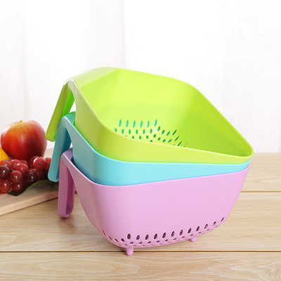 Cherry Color Creative New Plastic Kitchen Drain Fruit And Vegetable Basket Washing Rice Sieve The Ri