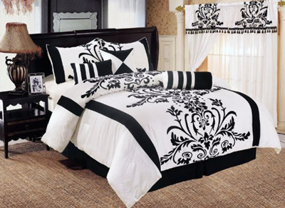Qoo10 Chezmoi Collection 7 Piece White Black Floral Duvet Cover