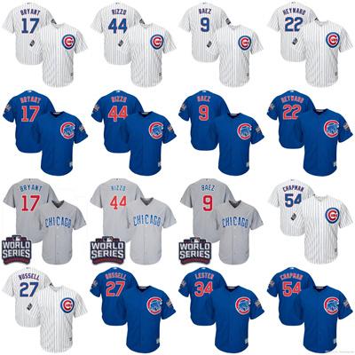 quality design f09f6 8d28d Chicago Cubs Jerseys #17 Bryant #44 Rizzo #9 Javier Baez #34 Lester #27  Russell #54 Chapman #49 Arri