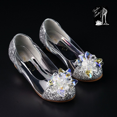 1c7249b3a390 Child Princess Cinderella Crystal shoe 10 years old girls in high heels  shoes 7 glass shoes