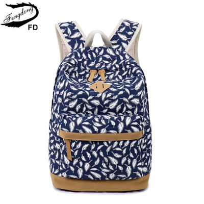 e98e9296968e children backpack kids bag school bags for girls feather printing canvas  backpack for laptop book ba