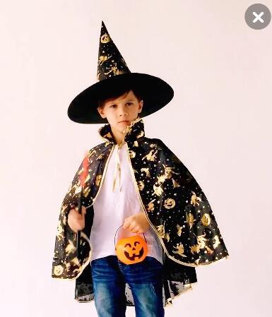 Halloween Costume 303.Children Cosplay Costumes For Halloween Costume Boys Girls Cloak Witch Costume Pumpkin Hat Halloween