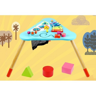 Children Kids Baby Colorful Wooden Activity Table Round Beads Educational  Game Toy