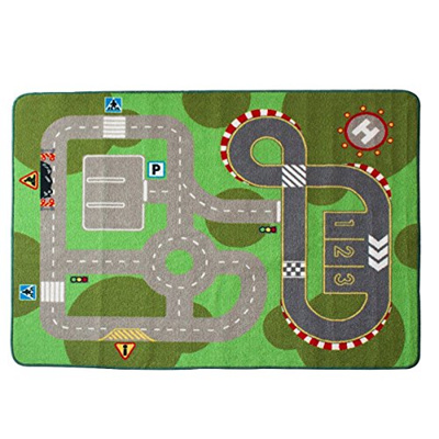 Children Rug Learning Carpets Play Carpet Machine-washable Non-slip Area  Rug(40x52)(Green City Road)