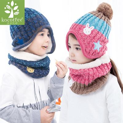 228df76c5ed Children Winter Hat Scarf Mittens Set Coloful Stripes Knit Baby Kids Beanie  Cpas Neck Warmers Gloves