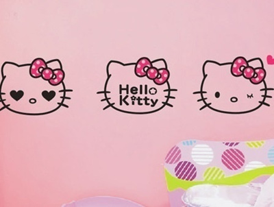 qoo10 - childrens room wall stickers affixed background bow hello