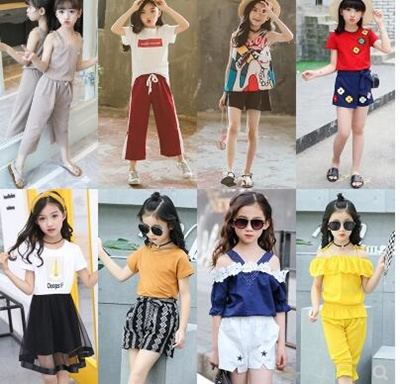 cf87bccb045a Qoo10 - Childrens wear girls summer wear 2018 new Korean version fashionable  f...   Kids Fashion