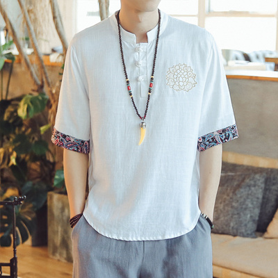 e075a6df51 Qoo10 - Chinese Style Linen Short-Sleeved Shirt Male Large Size Loose  Embroide...   Men s Apparel