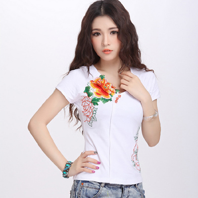 2aa192ca3e0 Qoo10 - Chinese style short sleeve t-shirt women s embroidered slim plus  size ...   Women s Clothing