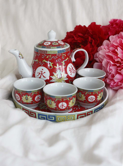 Chinese Wedding Tea Ceremony Blissful Marriage Red Set