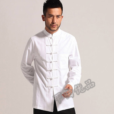 Chinese young men Chinese costume Hanfu wind seven button suit tea meditation COSTUME SHIRT white ma  sc 1 st  Qoo10 & Qoo10 - Chinese young men Chinese costume Hanfu wind seven button ...