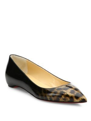 sports shoes c4c07 9cb75 Christian LouboutinChristian Louboutin Pigalle Follie Leopard-Print Patent  Leather Flats
