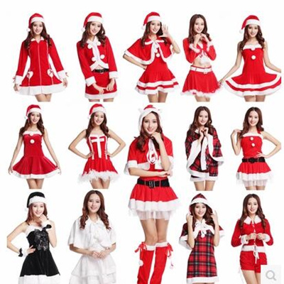 90908030c39 Christmas Costumes Girls Christmas Ball Party Uniform Santa Claus Costume  Performance