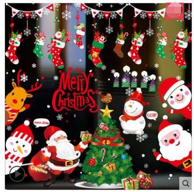 Christmas decoration supplies shop window glass sticker wall sticker holiday scene layout santa tree