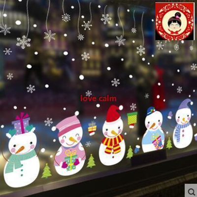christmas decorations shopping malls shop layout window glass door stickers self adhesive wall stickers snowman - Window And Door Christmas Decorations