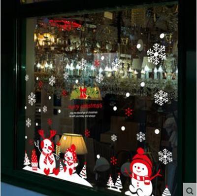 Christmas decorations shopping malls shop layout window glass door stickers self - adhesive wall sti