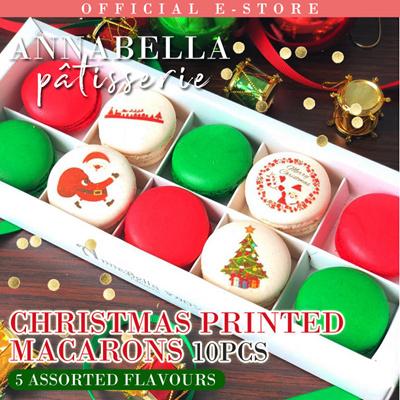 Christmas Macarons.Christmas Print Macarons 10pcs Comes With Gift Box And Bag