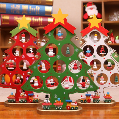 Christmas Tree Display Wooden Tree Ornament Xmas Gift Decor Festive Decoration Xmas Idea Present