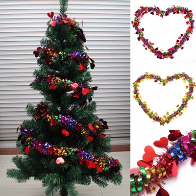 Christmas Tree Ornament Ribbon Garland With Love Heart Christmas Decoration