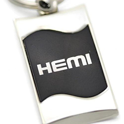 Dodge Ram Logo Rectangular Wave Key Chain Black