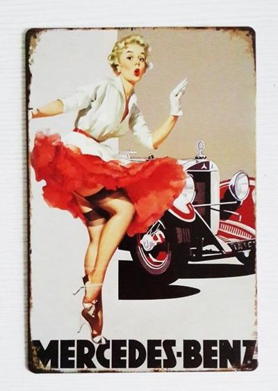 Qoo10 Classic Beautiful Pin Up Girl Mercedes Benz Classic Tin Sign
