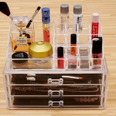 6b75d0b4ce29 Clear Makeup Case Holder Cosmetic Organizer Jewelry Acrylic Cabinet Box 3  Drawer