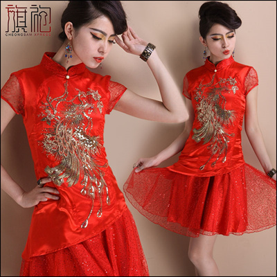 CNY Lace Plus Size Cheongsam Chinese Dress QiPao Blouse Oriental  Traditional 【QP01】