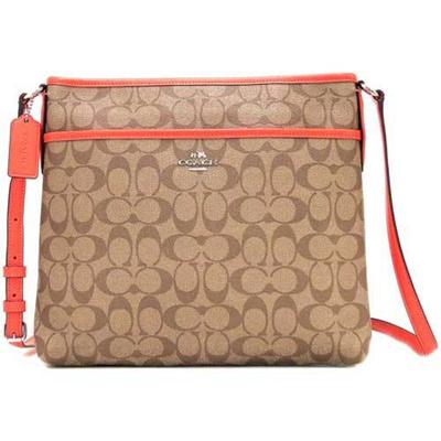 Coach bag shoulder COACH outlet signature PVC leather file bag F58297 SVC8O 65eede9a87