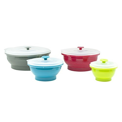 Qoo10 Collapse it Silicone Food Storage Containers 4 piece Bowl