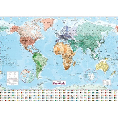 collins world laminated map uk english shipping wall by latest geography waterproof color multicol