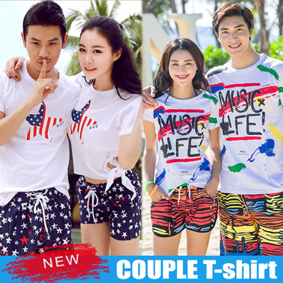 644b28b7835e 2019 Couple T-shirt ☆ Casual Short Sleeve tee ☆ Men Women Beach Cotton t