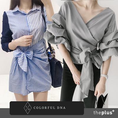 a018abcdd7 Qoo10 - ☆COLORFUL DNA☆balloon stripe blouse  DESIGN BY KOREA  Korea famous  f...   Women s Clothing
