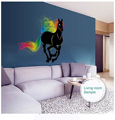 qoo10 - colorful running horse rainbow wall sticker for home room