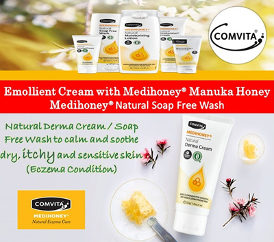 Comvita Medihoney® Natural Derma Cream / Eczema Cream / Emollient Cream /  Soap Free Wash for Dry Itchy Sensitive Skin - [LOWEST PRICE GUARANTEE]