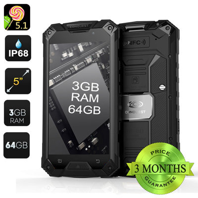 Conquest S6 Pro Rugged Smartphone (Black)