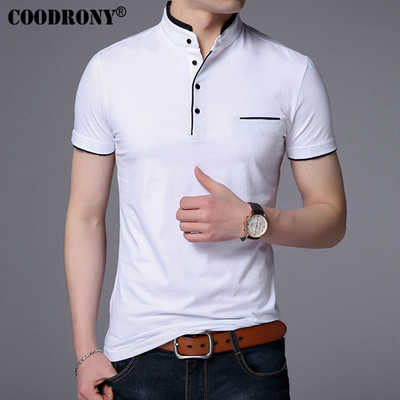 cc38a63c88 COODRONY Mandarin Collar Short Sleeve Tee Shirt Men 2017 Spring Summer New  Top Men Brand Clothing