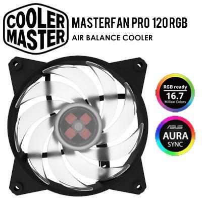 CoolerMasterCOOLERMASTER MASTERFAN PRO 120 RGB / Air Balance Case Fan / 5  Years Warranty