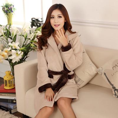 d8f1f063dd Qoo10 - Coral Fleece Hooded bathrobe Lady winter girls flannel bathrobes  women...   Underwear   Sock.