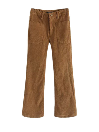 discount sale sleek soft and light Corduroy Khaki Bell Bottom Pants With Patch Pockets