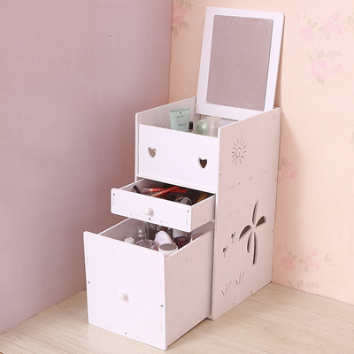 Cosmetic Storage Box Makeup Boxwith Mirror Wooden Cosmetic Storage Box Desktop Organizer Desktop Cosmetic Storagebox Wooden Makeup