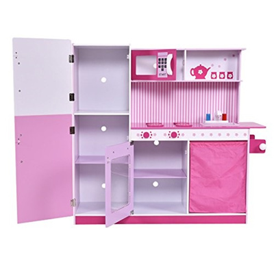 b02e8005fabf Qoo10 - (Costzon) Costzon Kids Pink Wooden Kitchen Cooking Pretend Play Set  wi... : Toys