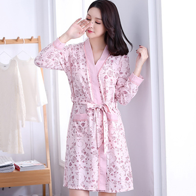 81cb39a2e2 Qoo10 - Cotton Robes For Women Spring Autumn Long Sleeve Bathrobes Cute  Girls ...   Underwear   Sock.