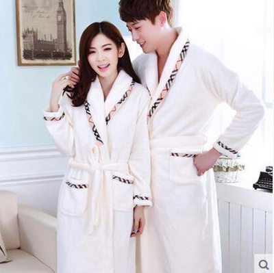 b7a73092cc Qoo10 - Couple robe robe pajamas men and women long sleeves thick flannel  cora...   Women s Clothing